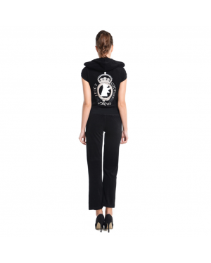 JUICY COUTURE Forever Logo Printed Terry Short Sleeve Jacket and Original Pants (Black) (MADE IN USA)
