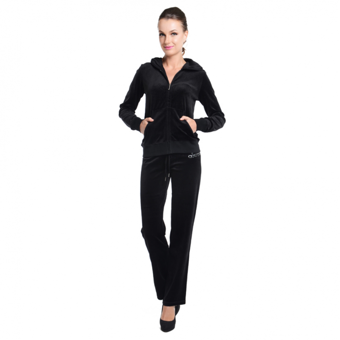 JUICY COUTURE Relaxed JC Monogram Jewels Velour Jacket and Original Pants ( Black) (MADE IN USA) 4d113c6d5