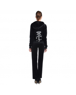 JUICY COUTURE Relaxed JC Monogram Jewels Velour Jacket and Original Pants (Black) (MADE IN USA)